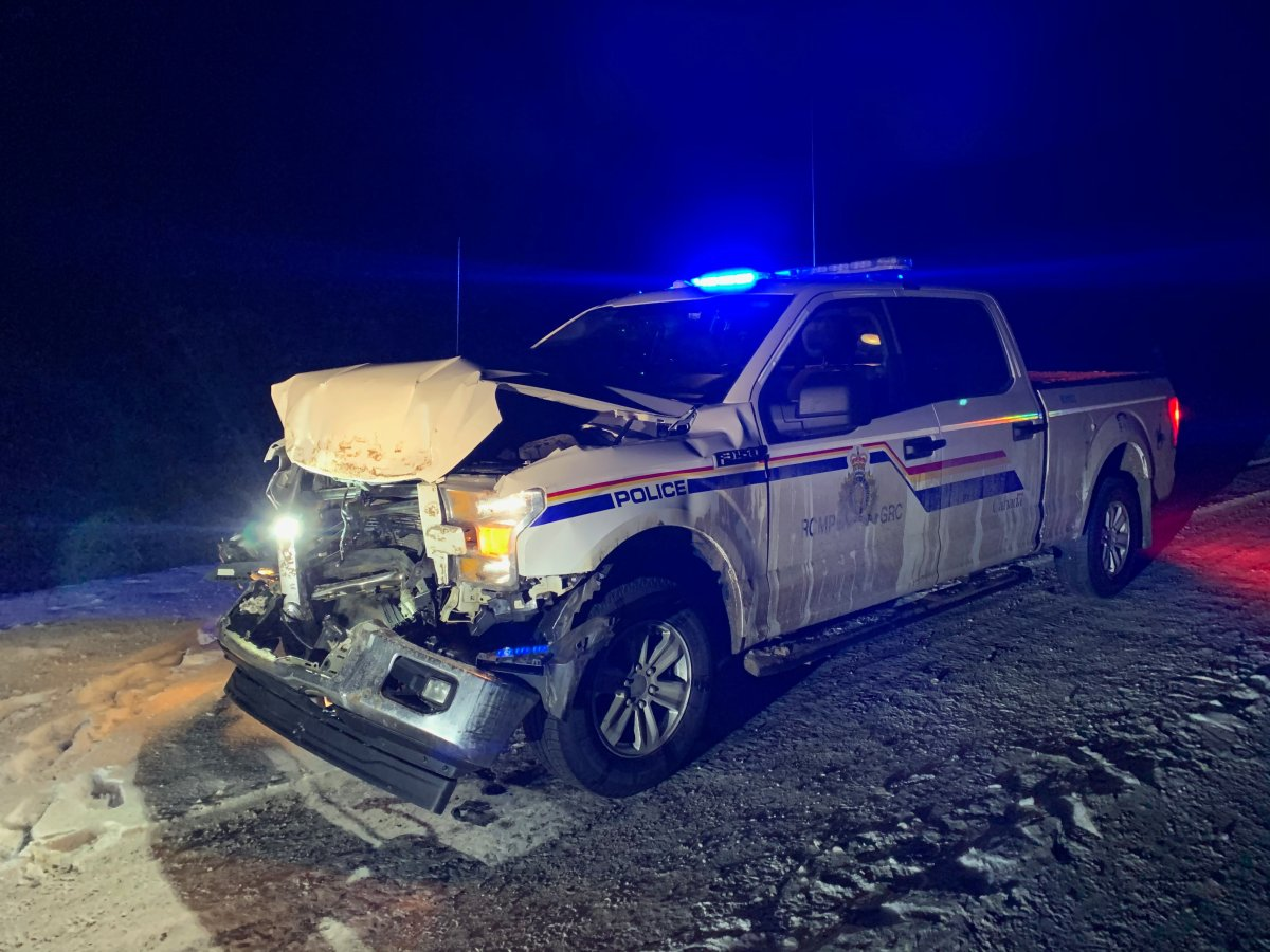 Killam RCMP are looking for suspects after an RCMP vehicle was rammed by a truck it had been trying to stop.