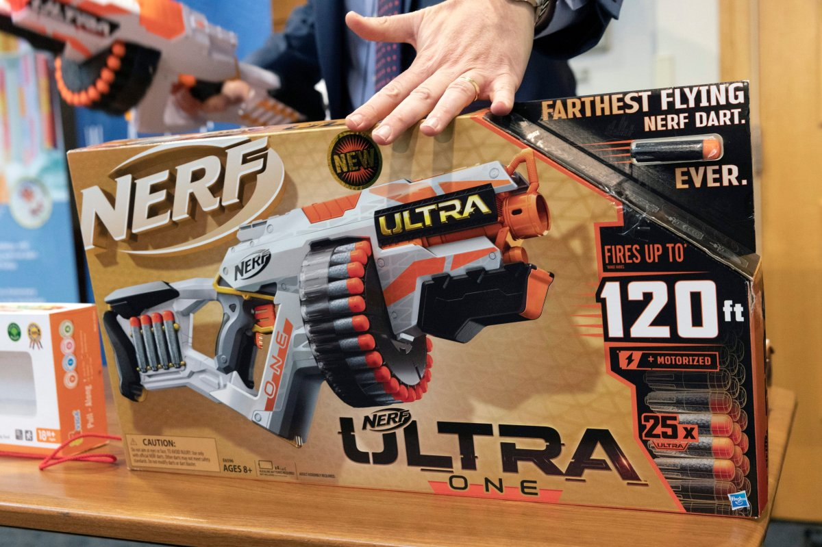 James Swartz, director of World Against Toys Causing Harm, talks about the dangers of the Nerf Ultra One, during a news conference in Boston, Tuesday, Nov. 19, 2019. The organization says the Nerf Ultra One gun, which is billed as firing soft darts up to 120 feet, shoots the projectiles with enough force to potentially cause eye injuries.
