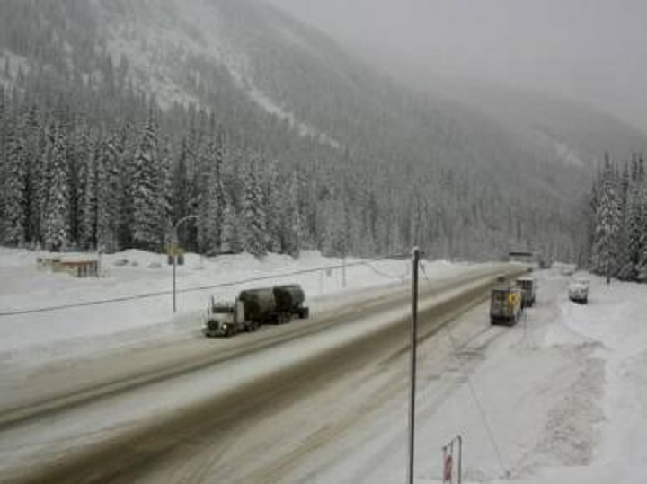 Road and weather conditions at Rogers Pass along the Trans-Canada Highway in B.C., on Wednesday, Dec. 18, 2019.