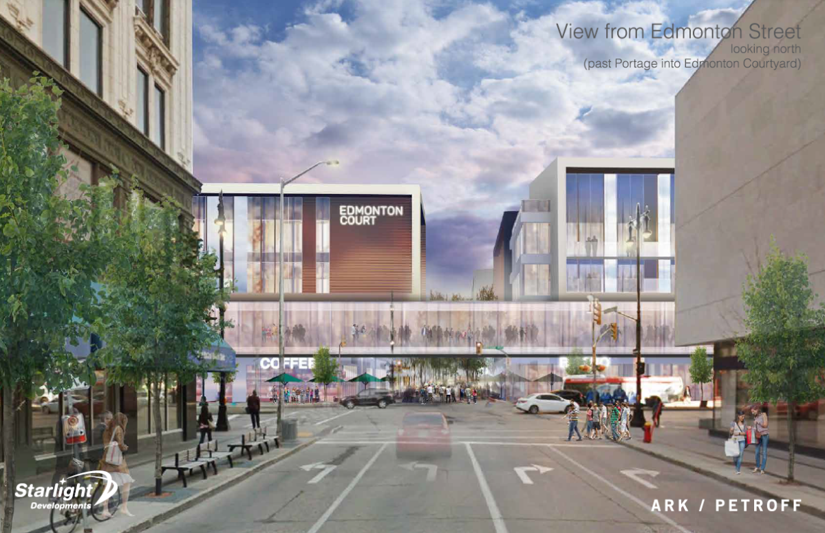 The street view looking north at the proposed new development at Portage Place.