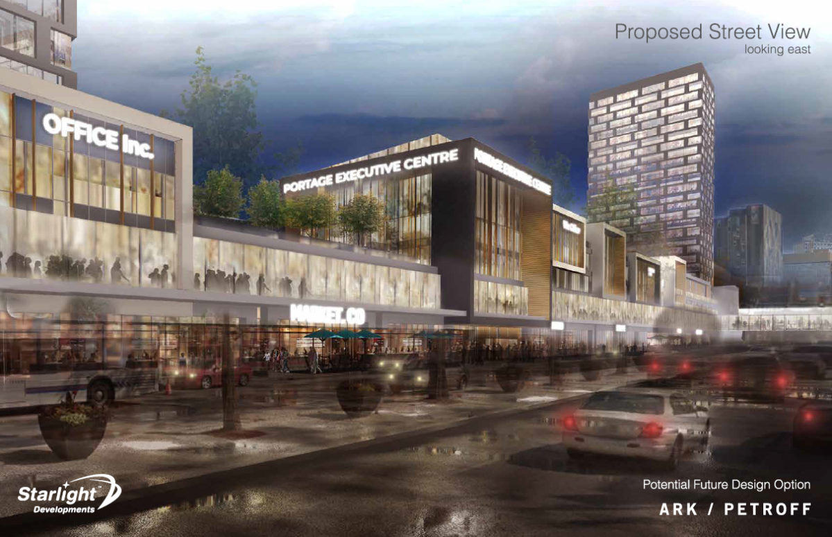 The street view looking east at the proposed new development at Portage Place. The province of Manitoba is set to provide nearly $30 million in tax rebates to the Toronto-based developer as part of a new project.