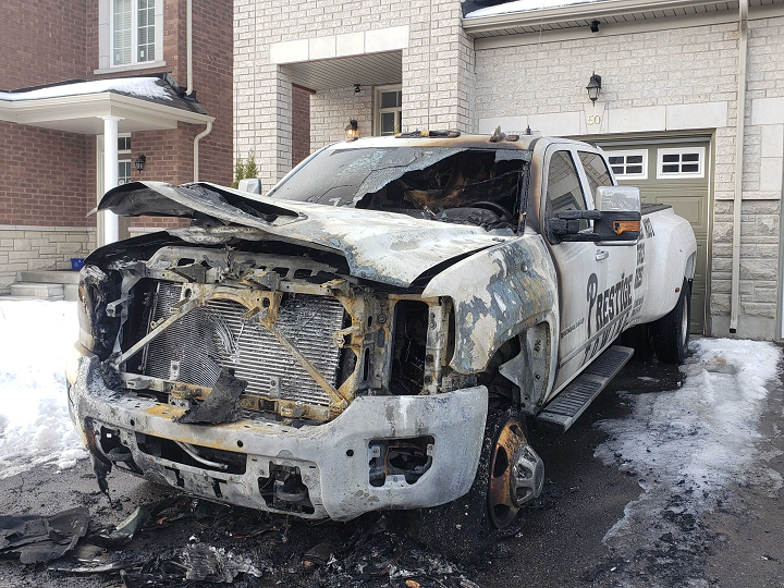The scene of a tow-truck fire on Collin Court in Richmond Hill on Dec. 24.