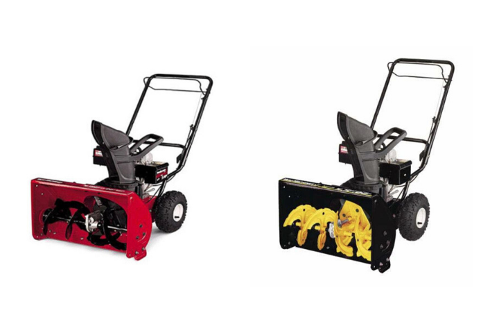 A picture of the Yard Machine Snow Thrower (R) and the Yardworks and Troy-Bilt Snow Thrower (L).