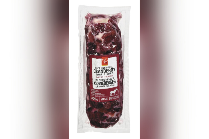 A picture of President's Choice Cranberry Goat's Milk Cheese that has been recalled over pieces of plastic in the product.