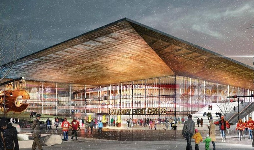 An artist's rendering of a new arena in Calgary.