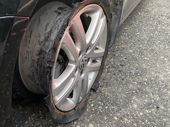 West Vancouver police claim that a man of no fixed address and a Kelowna woman were on alleged crime spree. The two were stopped by police after officers deployed a spike belt to disable their vehicle.