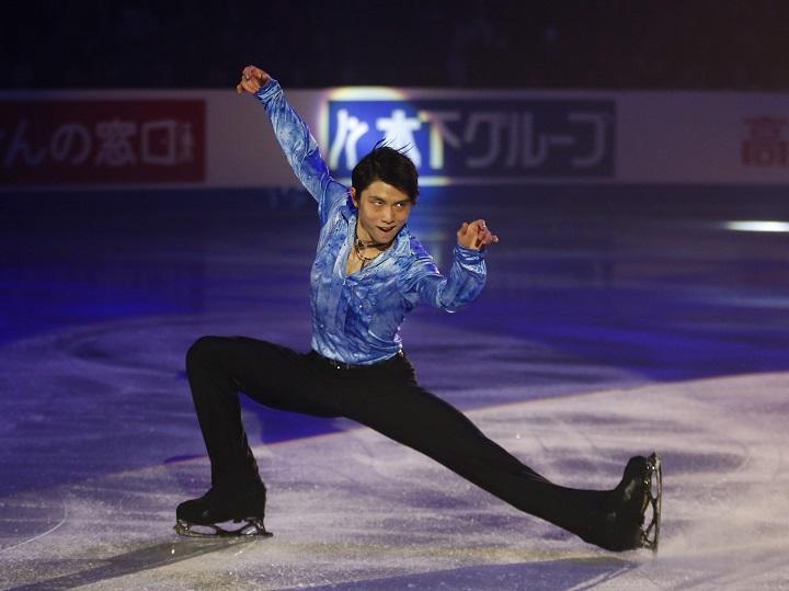 Yuzuru Hanyu of Japan, seen in action at Skate Canada International in Kelowna on Oct. 27, 2019.