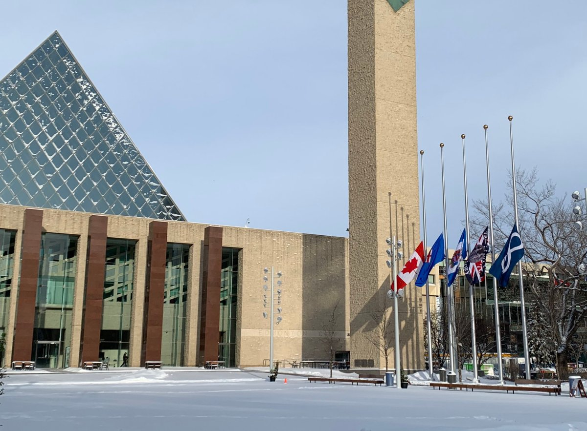Flags lowered at Edmonton City Hall on Wednesday, Jan. 8, 2020 to honour the victims of the Tehran plane crash.