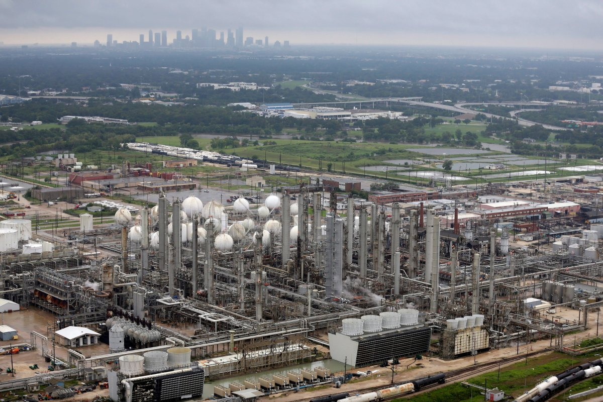 This aerial photo shows the TPC petrochemical plant near downtown Houston, background, on Tuesday, Aug. 29, 2017.