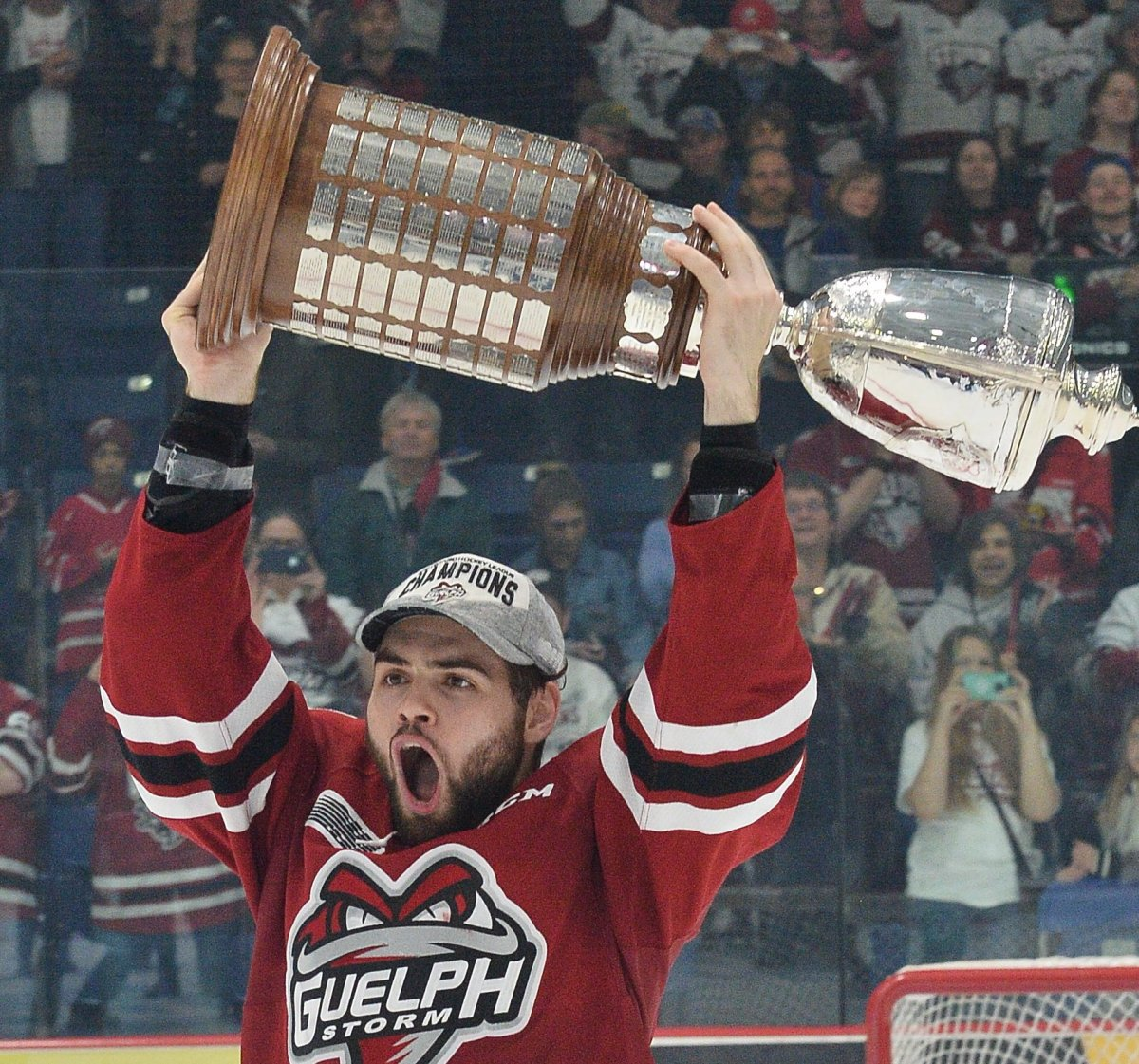 Markus Phillips celebrates his OHL championship with the Guelph Storm.