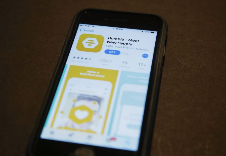 A phone with an App Store selection of the dating app Bumble is pictured Aug. 29, 2019, in Oklahoma City.