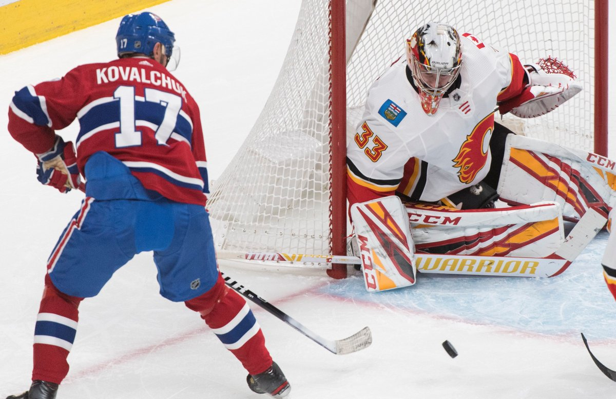 Montreal Canadiens' Ilya Kovalchuk moves in on Calgary Flames goaltender David Rittich during first-period NHL hockey action in Montreal on Monday, January 13, 2020.