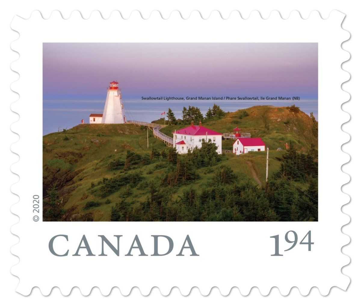 The Swallowtail Lighthouse on Grand Manan Island, N.B. is shown on a Canada Post stamp in this handout photo. Canada Post has released a set of nine stamps that feature stunning views from across Canada, and three of them feature scenes from the Maritimes.