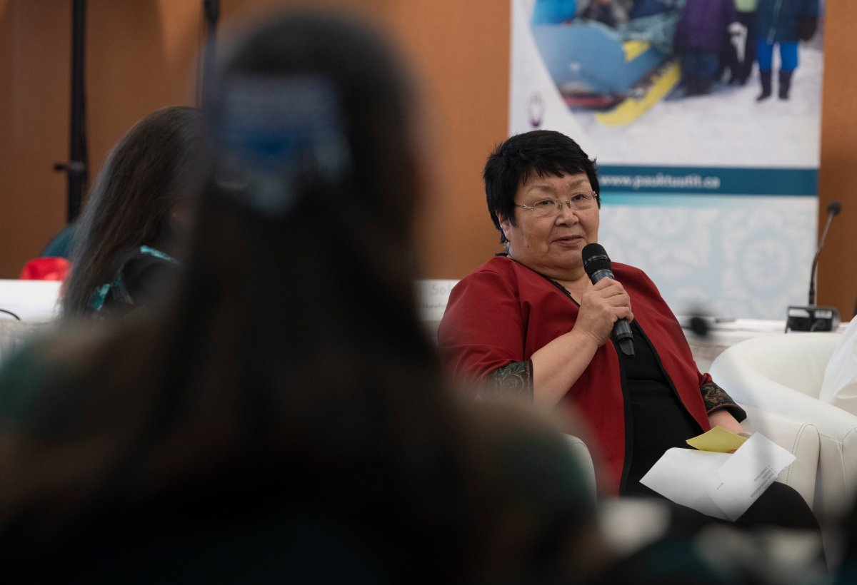 Rebecca Kudloo, President of the Pauktuutit Inuit Women of Canada, speaks during an Inuit panel in relation to Missing and Murdered Indigenous Women and Girls held Thursday, January 16, 2020 in Ottawa.