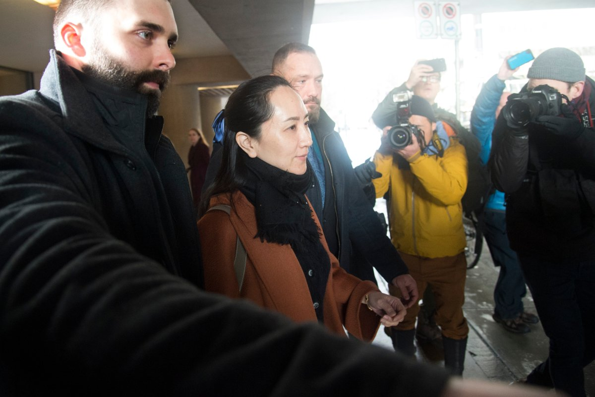 Meng Wanzhou chief financial officer of Huawei leaves B.C. Supreme Court in Vancouver, B.C., Friday, January 17, 2020.