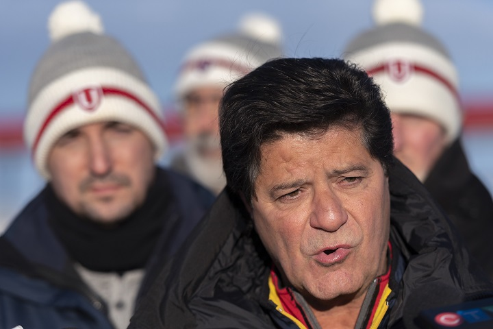 Unifor national president Jerry Dias speaks at a press conference in Regina on Tuesday, January 21, 2020. Dias along with other Unifor members were arrested Monday night while blockading the Co-op Refinery.