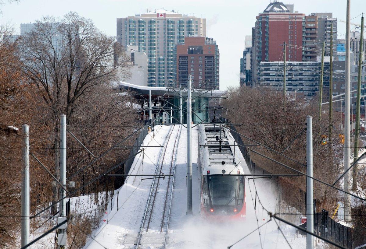 An OC Transpo light rail train is seen heading towards downtown Ottawa, Tuesday, January 21, 2020.