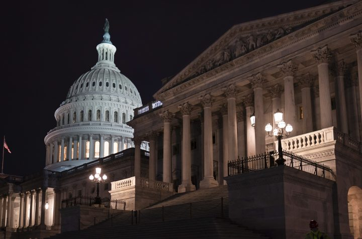 The Senate is seen as the impeachment trial of President Donald Trump is set to resume at the Capitol in Washington, Friday, Jan. 31, 2020.