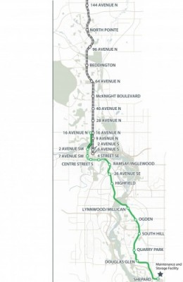 The updated Stage 1 of the Green Line route.
