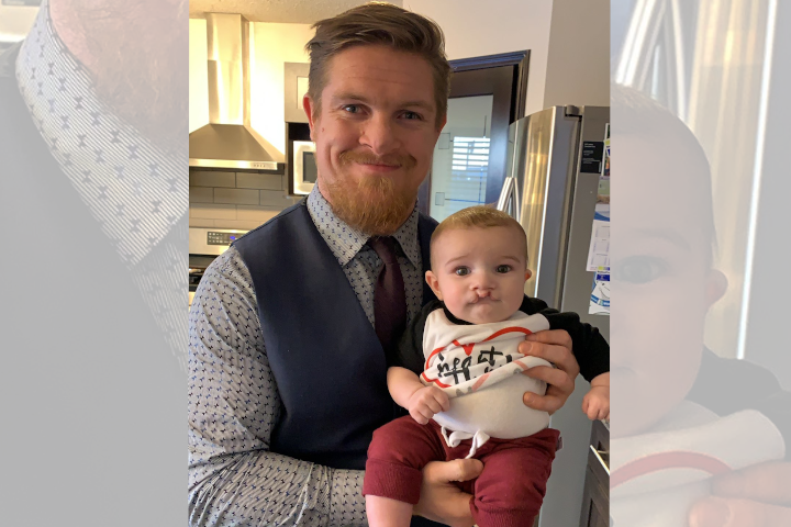 Winnipeg Blue Bomber Adam Bighill pictured with his son Beau.