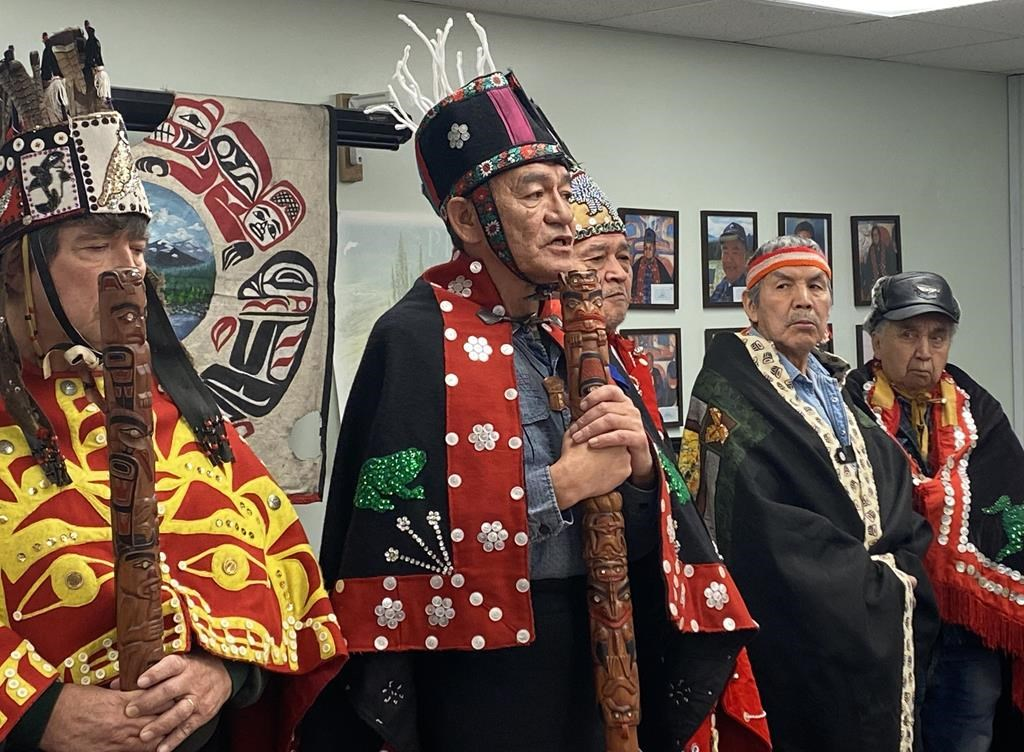 Na'moks (centre), a spokesman for the Wet'suwet'en hereditary chiefs, says they will not meet with representatives of a natural gas company that wants to build a pipeline through the First Nation's traditional territory.