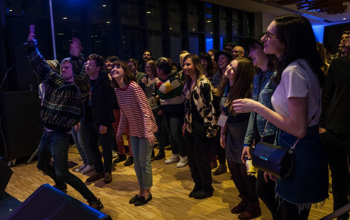 Festival-goers seen dancing at a performance at Festival Hall during the 2019 Block Heater music festival.