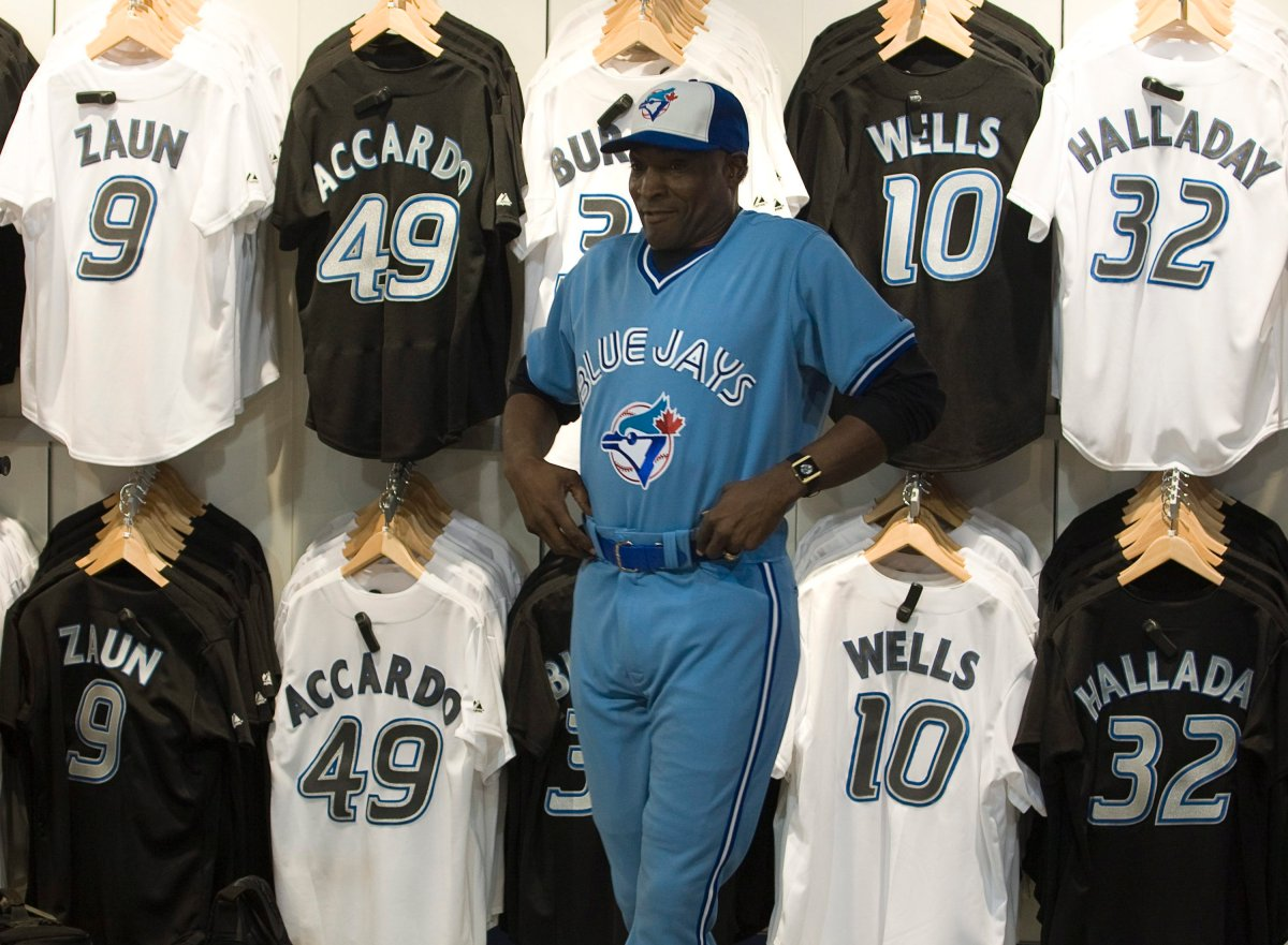 Former Toronto Blue Jays  outfielder Lloyd Moseby is seen in the team's vintage powder blue uniform in Toronto, Monday Dec. 3, 2007.
