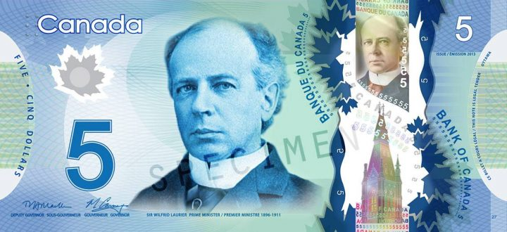 Sir Wilfrid Laurier is shown on Canada's current $5 polymer bank note.