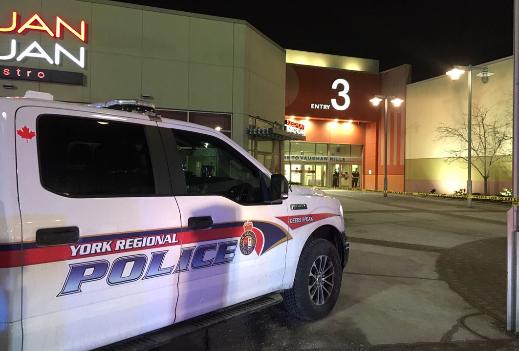 York Regional Police block off Entrance 3 at Vaughan Mills mall after a stabbing Thursday evening.