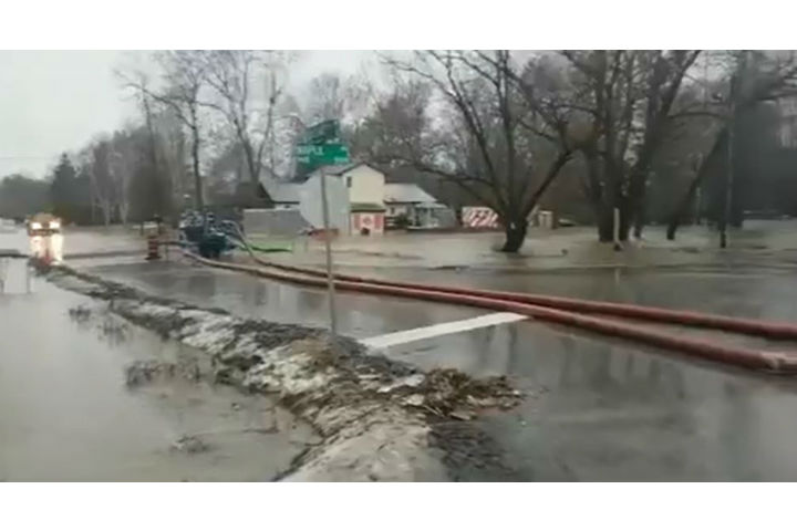 The town of Innisfil had to pump water in some areas due to flooding.