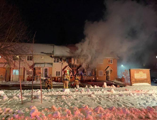 Fire crews remained at the scene of a blaze in Glen Cairn neighbourhood overnight to monitor the fire.