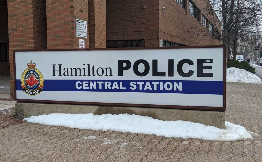 Outside of the Hamilton Police Service's central station.