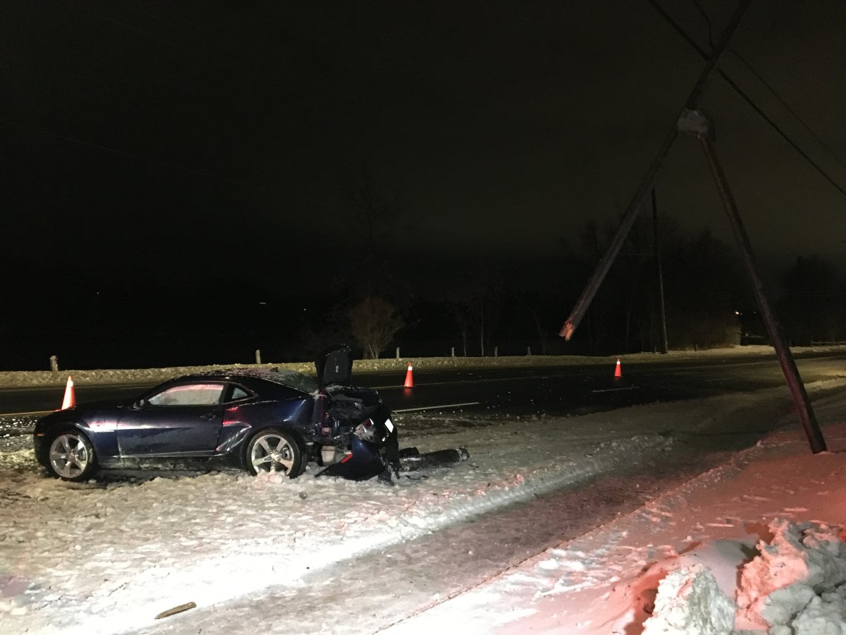 A car crashed into a hydro pole along Water Street in Peterborough on Monday night.