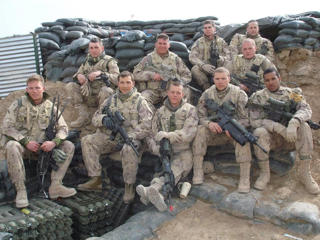 Lionel Desmond (front row, far right) was part of the 2nd battalion, of the Royal Canadian Regiment, based at CFB Gagetown and shown in this 2007 handout photo taken in Panjwai district in between patrol base Wilson and Masum Ghar in Afghanistan.