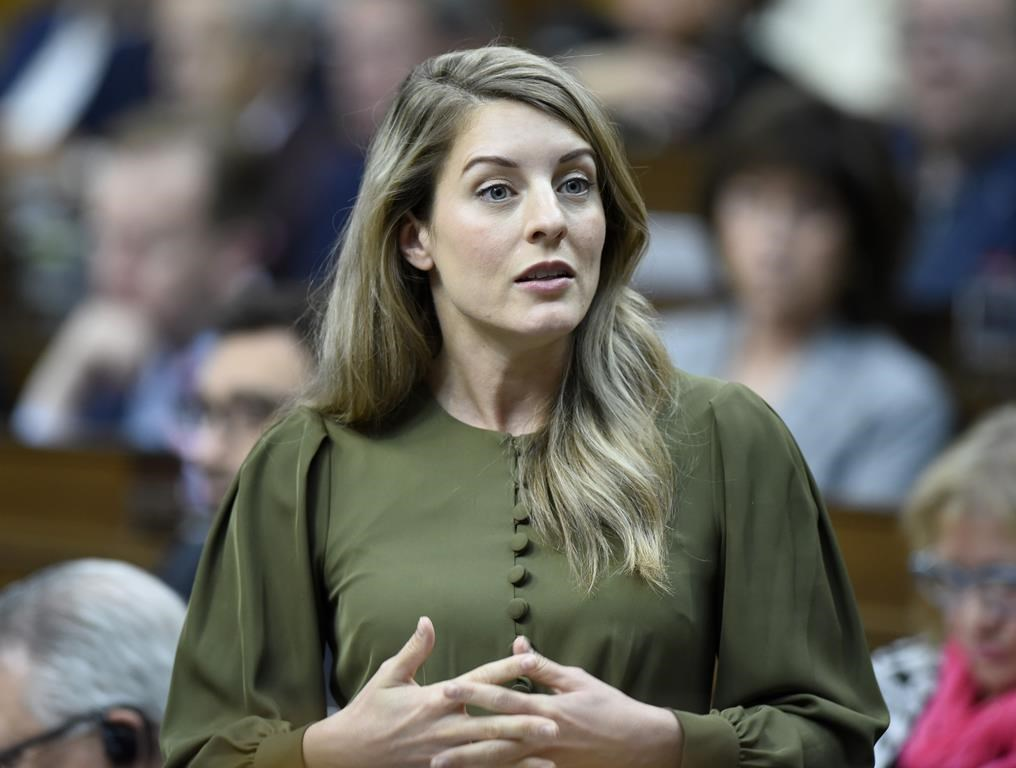 Minister of Tourism, Official Languages and La Francophonie Melanie Joly rises during Question Period in the House of Commons on Parliament Hill in Ottawa on Wednesday, June 5, 2019. The federal and Ontario governments have reached a deal on funding a new French-language university in Toronto.