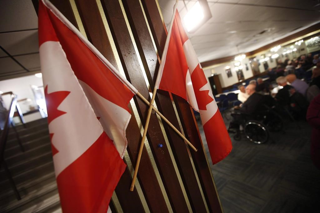 Canadian flags are displayed at The Royal Canadian Legion, St. James Branch No. 4 in Winnipeg, Thursday, November 8, 2018.