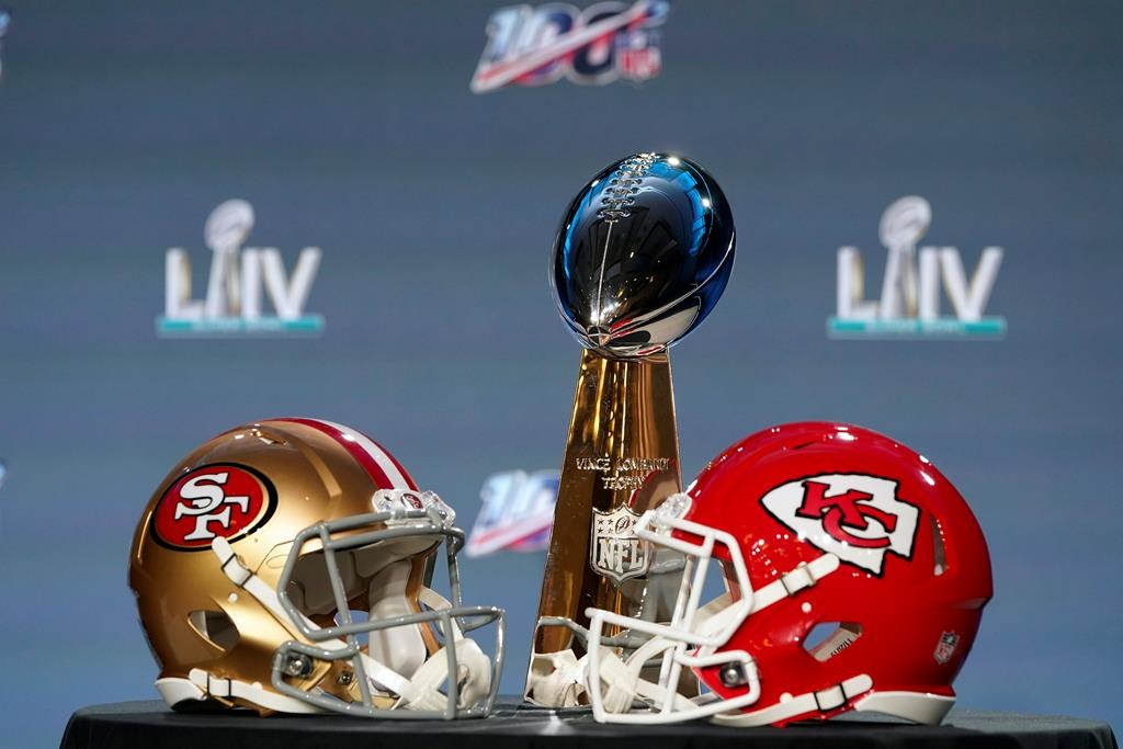 The Vince Lombardi Trophy is displayed before a news conference for the NFL Super Bowl 54 football game, in Miami, Fla., Wednesday, Jan. 29, 2020.