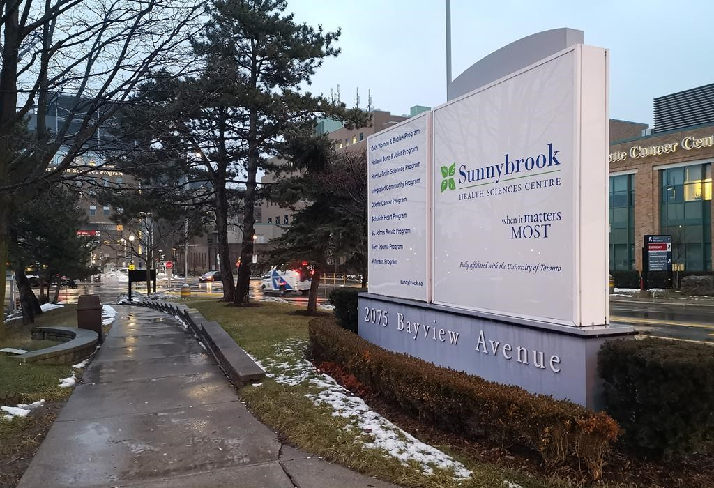 Sunnybrook Hospital is shown in Toronto on Sunday Jan. 26, 2020. Public health officials in Ontario say the wife of a man who is the province's first case of the new coronavirus has tested positive for the virus. They say the woman has been in self-isolation since arriving in Toronto with her husband. THE CANADIAN PRESS/Doug Ives.