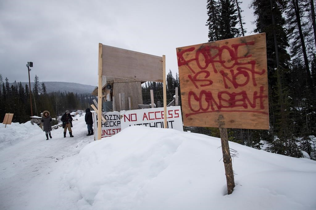 A checkpoint is seen at a bridge leading to the Unist'ot'en camp on a remote logging road near Houston, B.C., on Jan. 17, 2019.