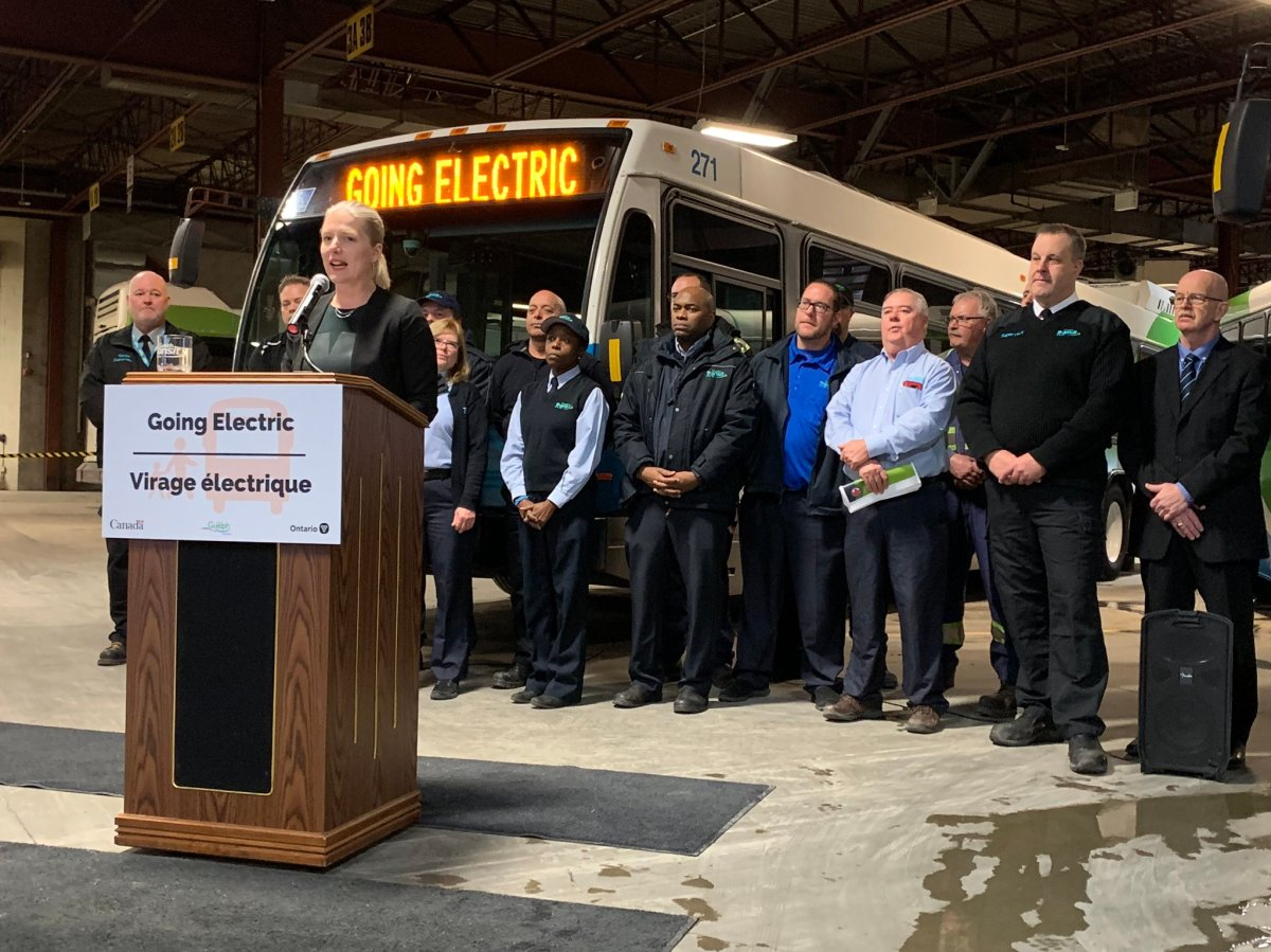 Federal Infrastructure Minister Catherine McKenna announced on Thursday that $177 million will be spent on 65 electric buses for Guelph Transit and the construction of a new storage facility.