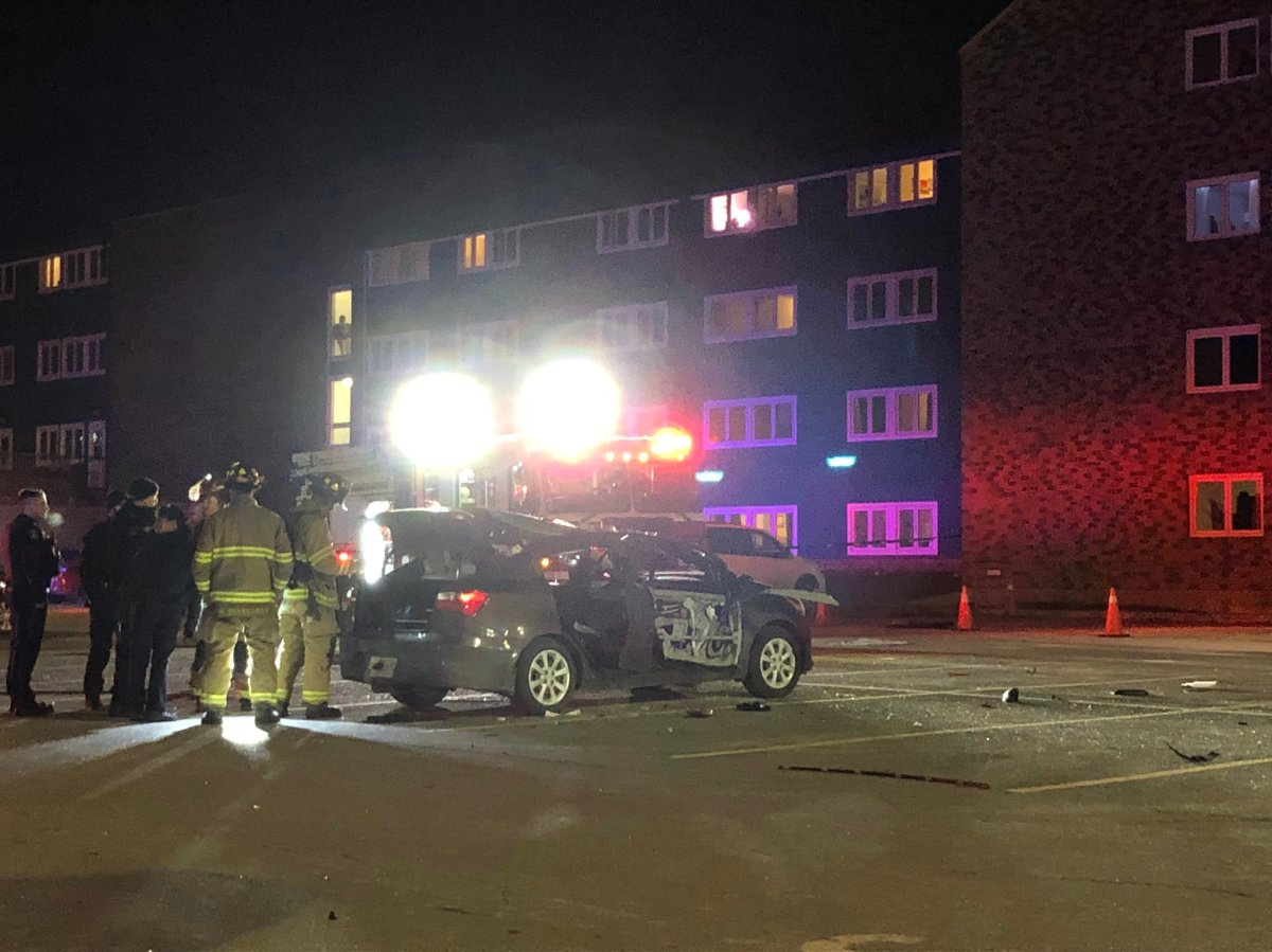 Halifax Regional Fire and Emergency and Halifax Regional Police responded to reports of an exploded vehicle in the parking lot of the Atlantic Superstore on Quinpool Road.