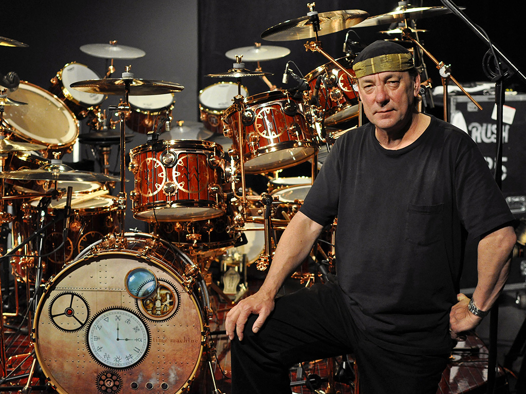 Neil Peart of Rush poses for a portrait with his DW drum kit on the Drum Channel soundstage on May 12, 2010 in Oxnard, Calif.