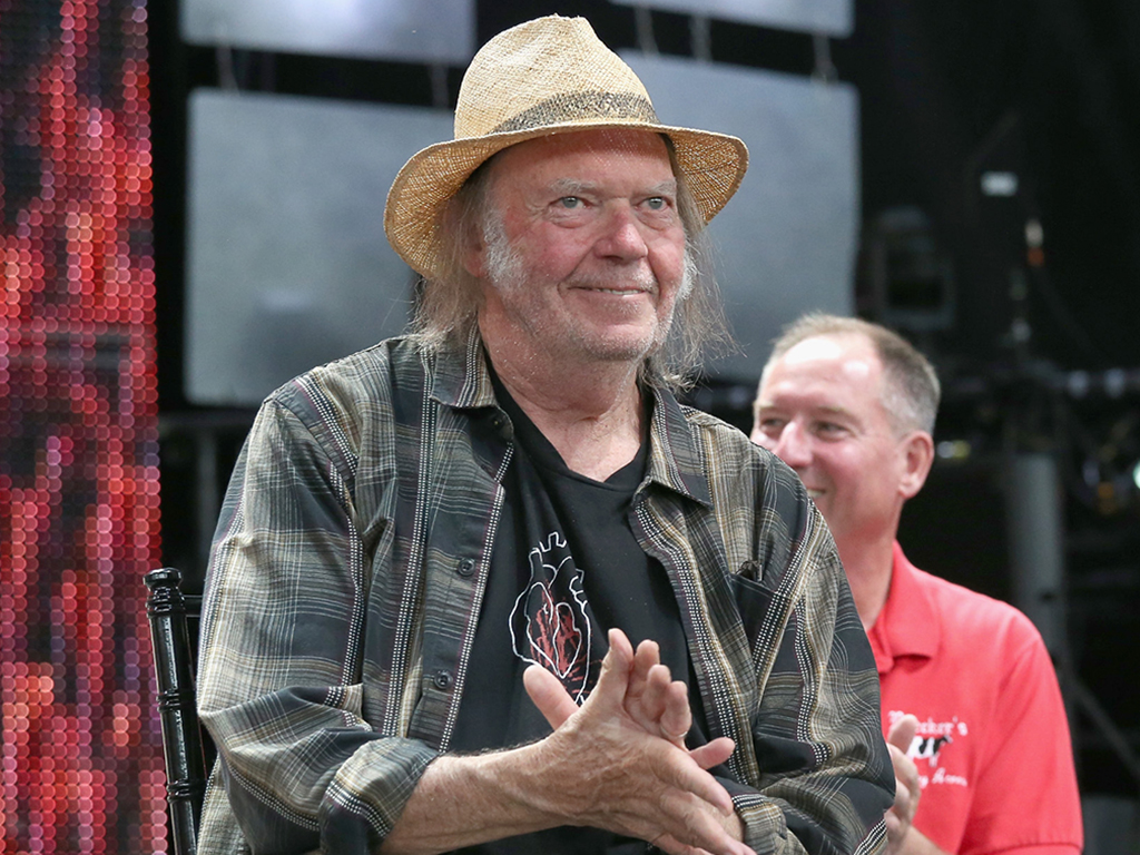 Neil Young attends a press conference for Farm Aid 34 at Alpine Valley Music Theatre on Sept. 21, 2019 in East Troy, Wis.