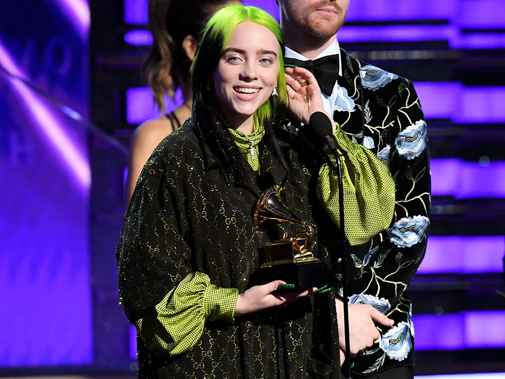 (L-R) Billie Eilish and Finneas O'Connell accept 'Album of the Year' for 'When We All Fall Asleep, Where Do We Go?' onstage during the 62nd annual Grammy Awards at Staples Center on Jan. 26, 2020 in Los Angeles.