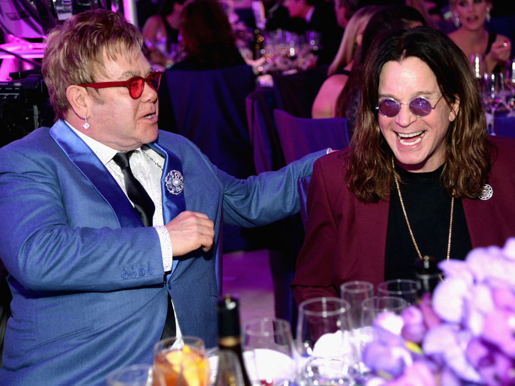 Ozzy Osbourne (R) and Sir Elton John (L) attend the 23rd annual Elton John AIDS Foundation Academy Awards viewing party on Feb. 22, 2015 in Los Angeles, Calif.