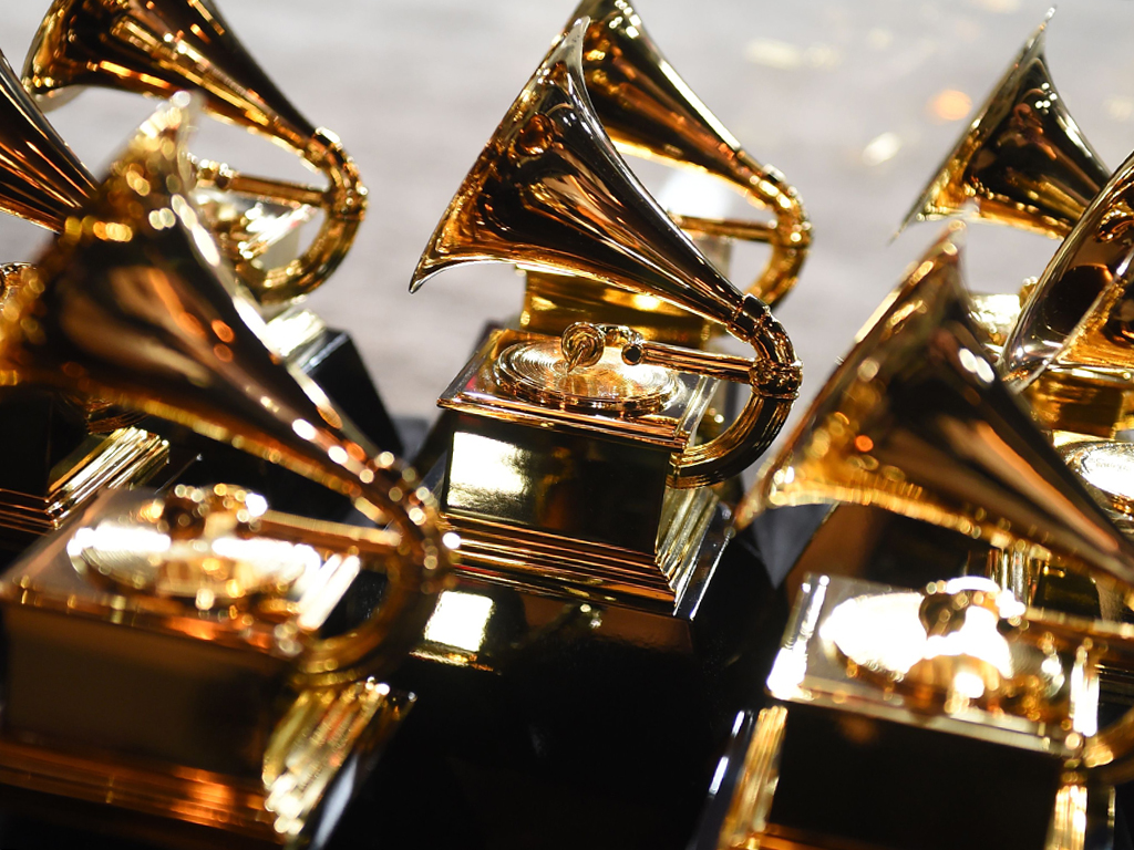 Grammy trophies sit in the press room during the 60th Annual Grammy Awards on Jan. 28, 2018, in New York City.
