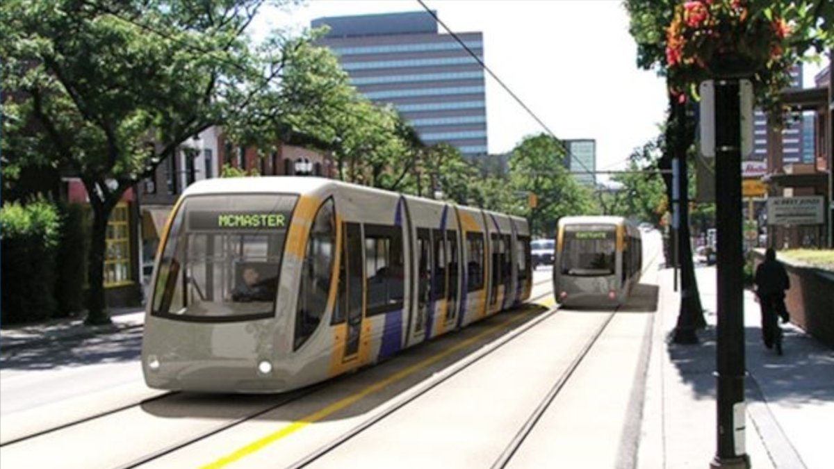 Artist rendering of proposed Hamilton LRT trains running along King Street West.