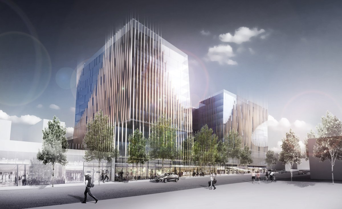 An artist's rendering of a new hotel approved for 888 West Broadway in Vancouver.