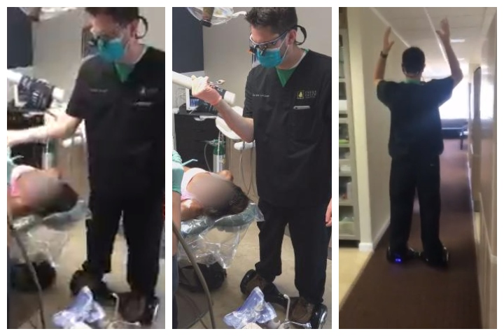 Dentist Seth Lookhart extracts a tooth while riding a hoverboard at his office in Anchorage, Alaska, in this image from video he shared in 2016.