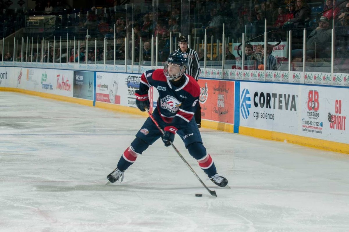 Saginaw Spirit player Ryan Suzuki has been wearing a full visor to protect his face as he recovers from an eye injury.